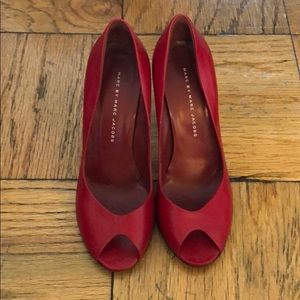 Marc by Marc Jacobs Red Peep Toe Pumps